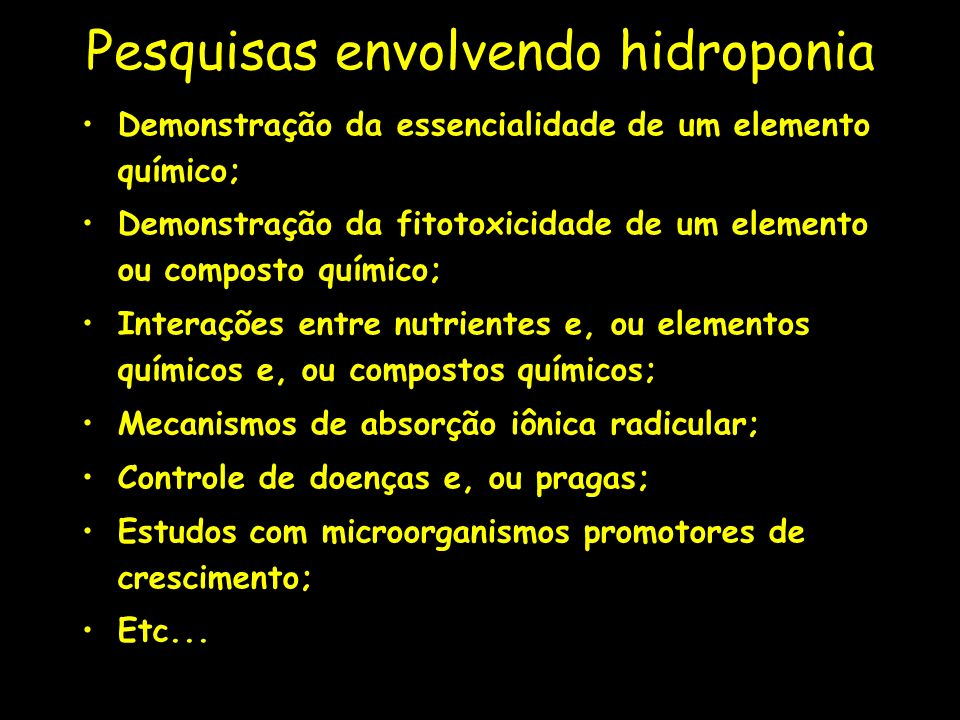 Pesquisas envolvendo hidroponia