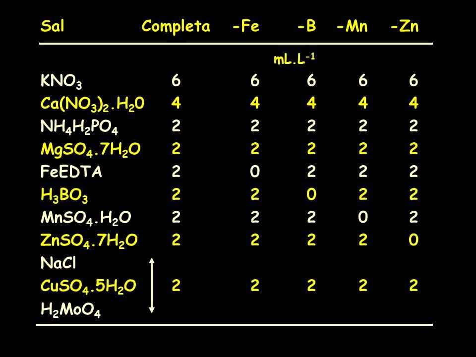 Sal Completa -Fe -B -Mn -Zn KNO3 6 6 6 6 6 Ca(NO3)2.H20 4 4 4 4 4