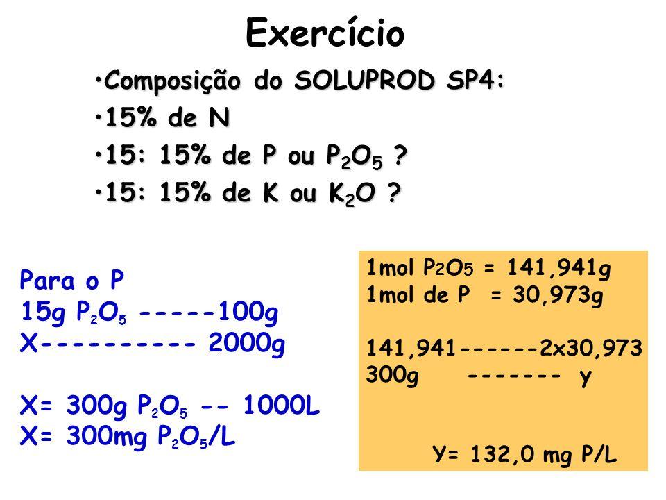 Exercício Composição do SOLUPROD SP4: 15% de N 15: 15% de P ou P2O5