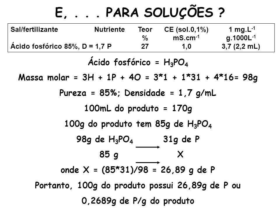 E, . . . PARA SOLUÇÕES Ácido fosfórico = H3PO4