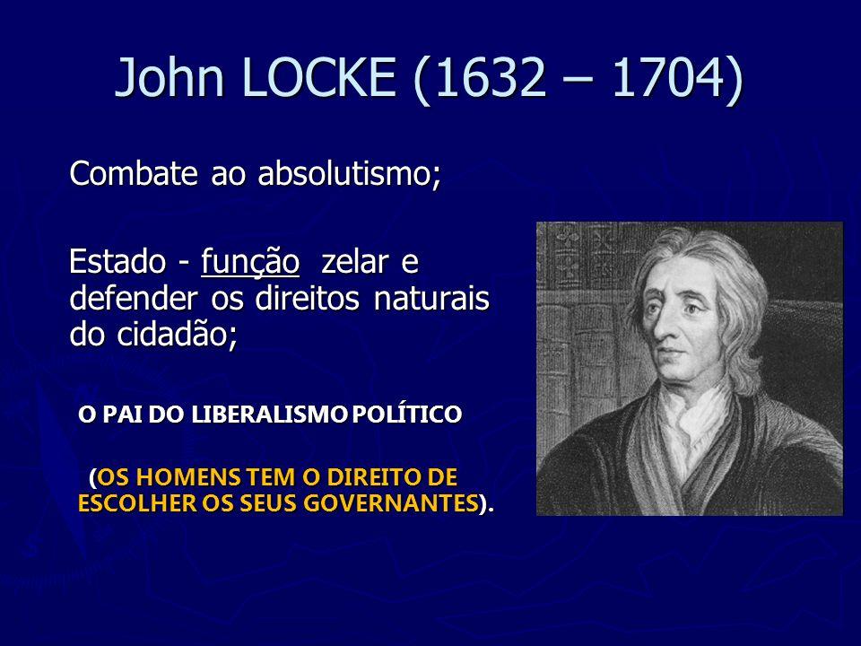 John LOCKE (1632 – 1704) Combate ao absolutismo;