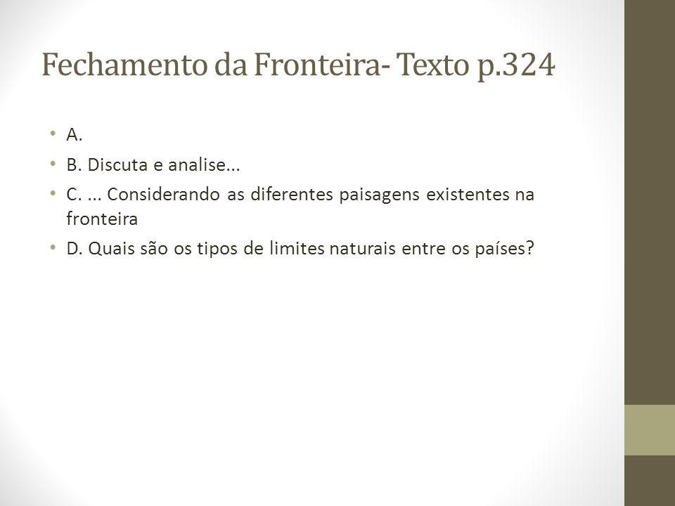 Fechamento da Fronteira- Texto p.324