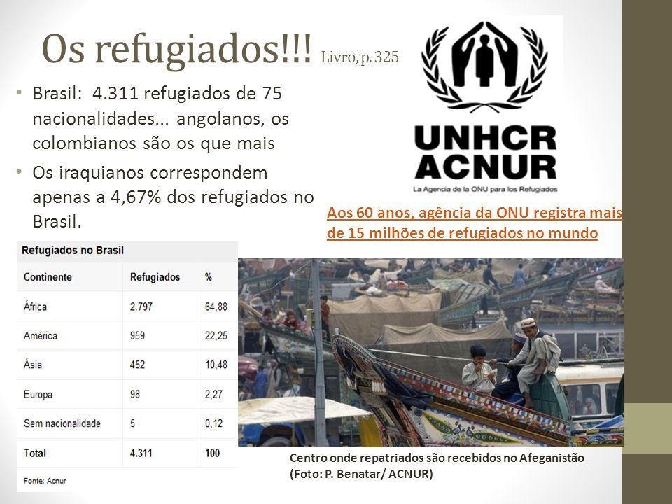 Os refugiados!!! Livro, p. 325 Brasil: 4.311 refugiados de 75 nacionalidades... angolanos, os colombianos são os que mais.