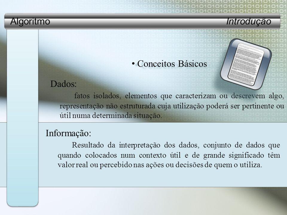 Algoritmo Introdução Conceitos Básicos.