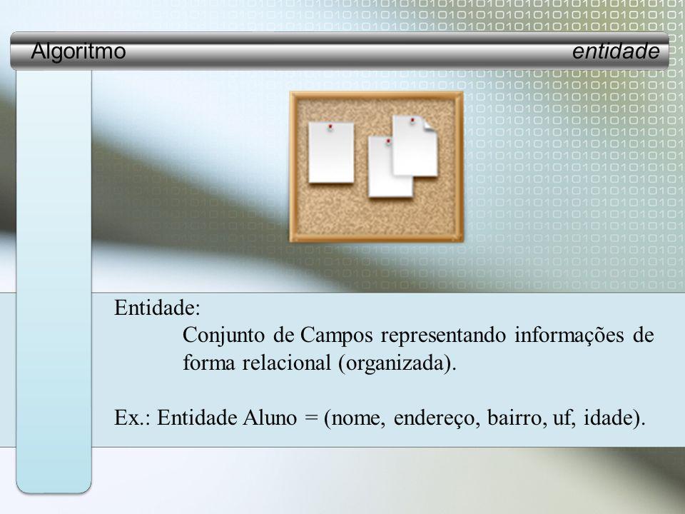 Algoritmo entidade Entidade: Conjunto de Campos representando informações de.