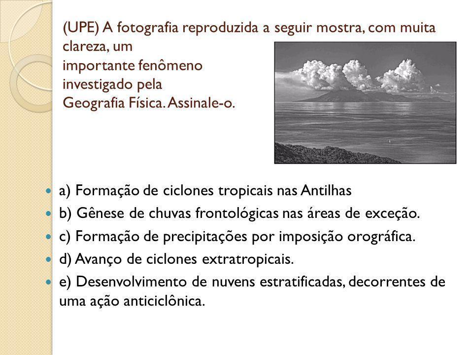 (UPE) A fotografia reproduzida a seguir mostra, com muita clareza, um importante fenômeno investigado pela Geografia Física. Assinale-o.