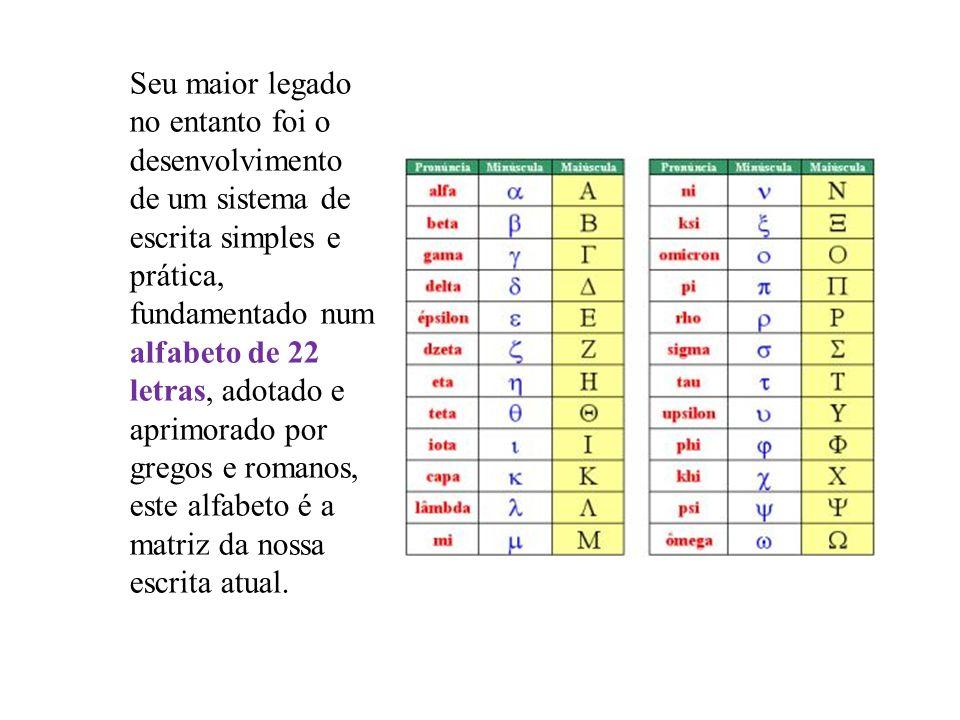 Seu maior legado no entanto foi o desenvolvimento de um sistema de escrita simples e prática, fundamentado num alfabeto de 22 letras, adotado e aprimorado por gregos e romanos, este alfabeto é a matriz da nossa escrita atual.
