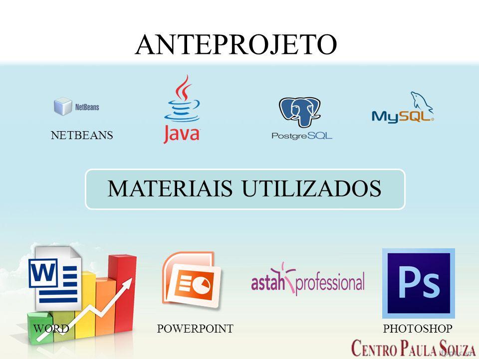ANTEPROJETO NETBEANS MATERIAIS UTILIZADOS WORD POWERPOINT PHOTOSHOP