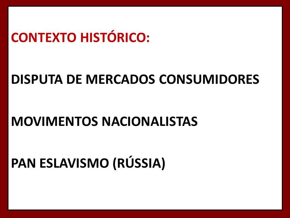 CONTEXTO HISTÓRICO: DISPUTA DE MERCADOS CONSUMIDORES MOVIMENTOS NACIONALISTAS PAN ESLAVISMO (RÚSSIA)