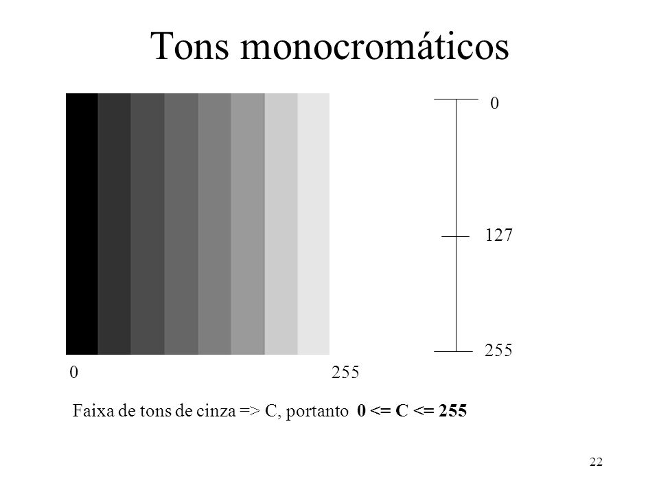 Tons monocromáticos 127 255 255 Faixa de tons de cinza => C, portanto 0 <= C <= 255