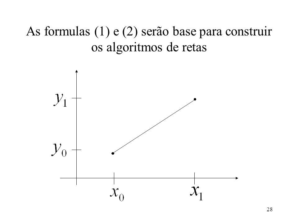 As formulas (1) e (2) serão base para construir os algoritmos de retas