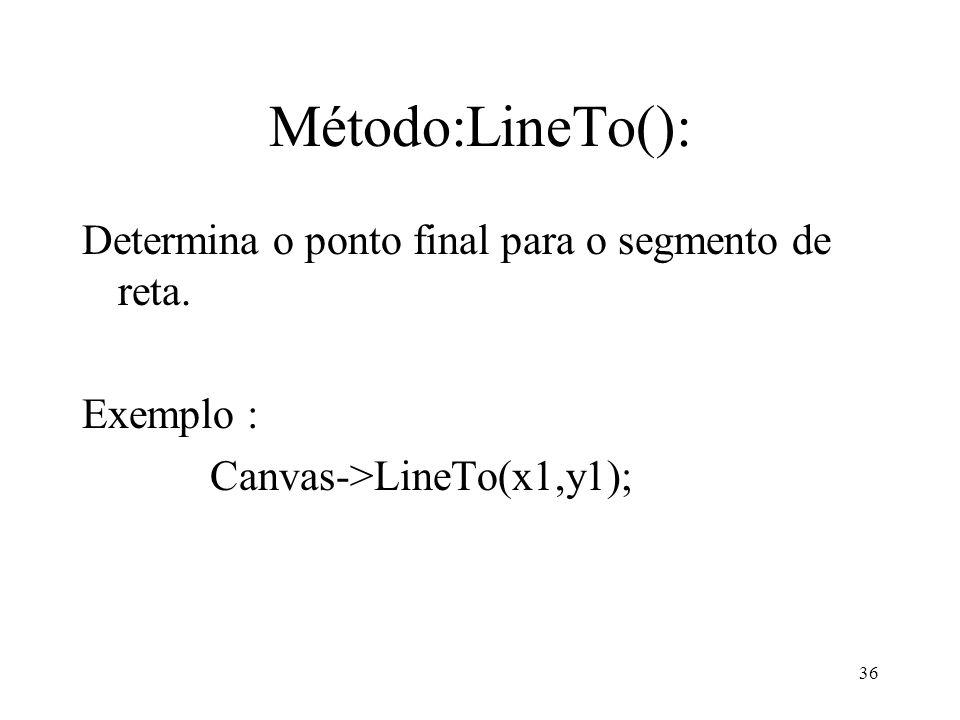 Método:LineTo(): Determina o ponto final para o segmento de reta.