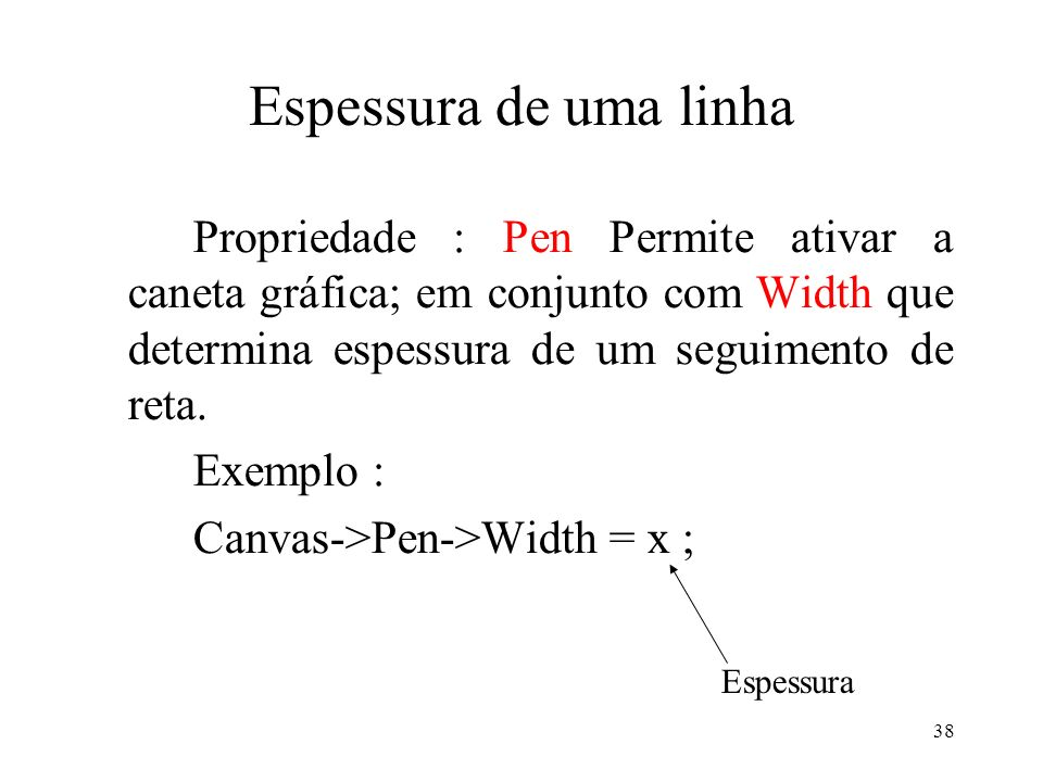Espessura de uma linha Propriedade : Pen Permite ativar a caneta gráfica; em conjunto com Width que determina espessura de um seguimento de reta.