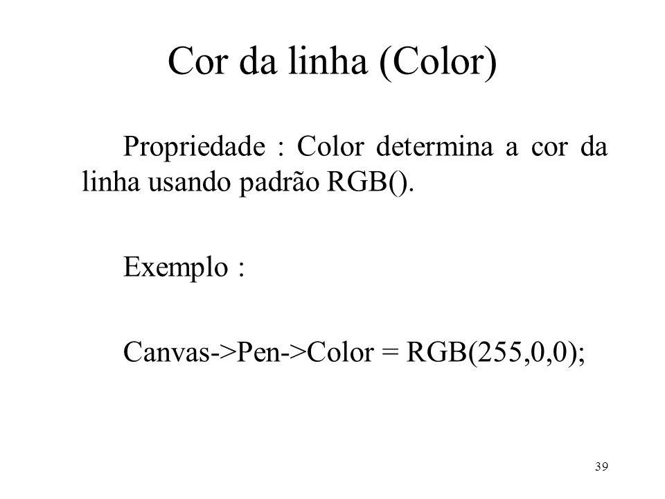 Cor da linha (Color) Propriedade : Color determina a cor da linha usando padrão RGB().