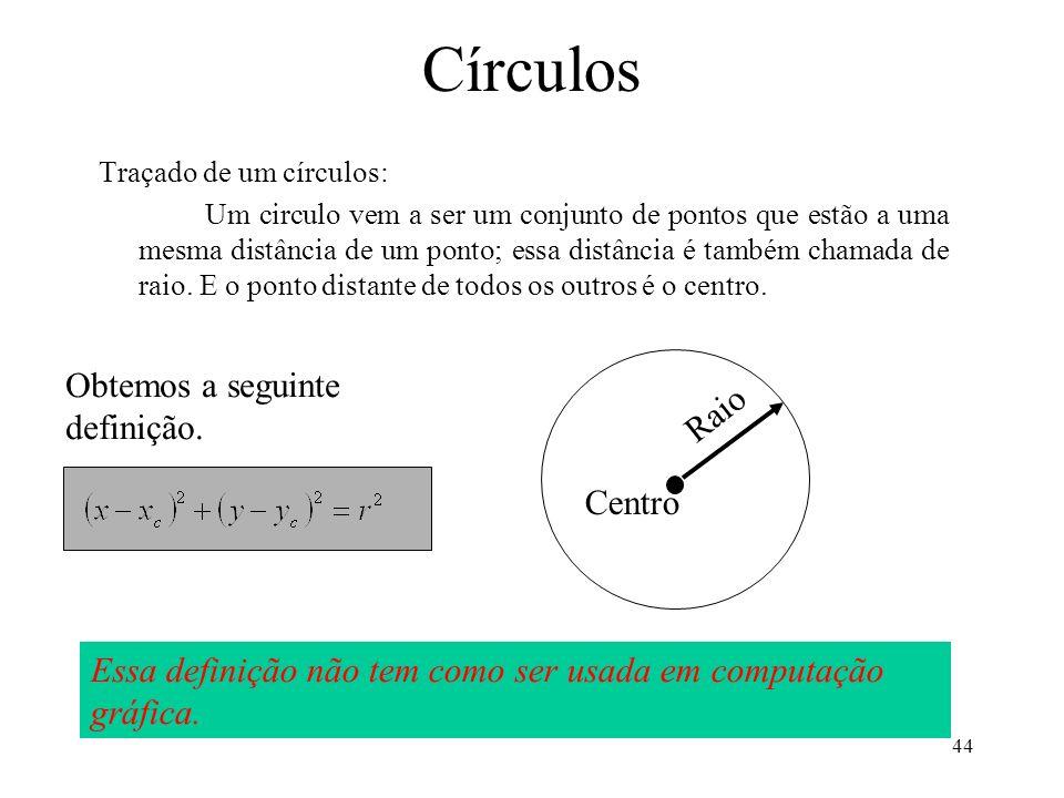 Círculos Obtemos a seguinte definição. Raio Centro