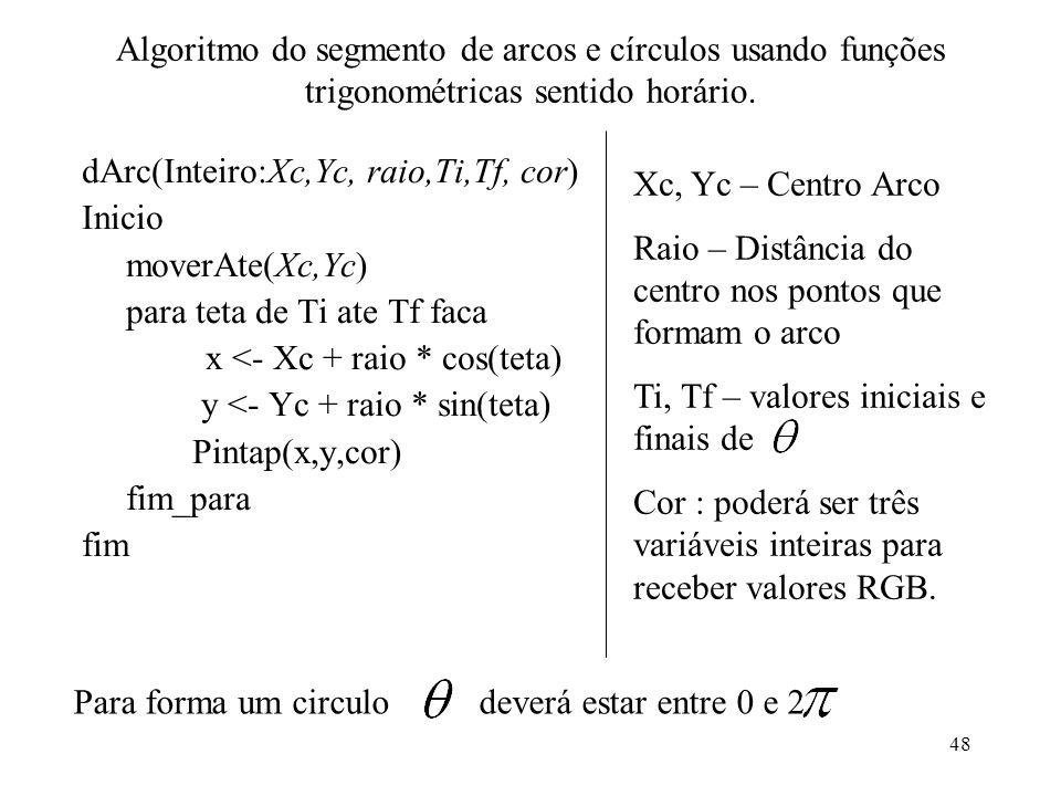 Algoritmo do segmento de arcos e círculos usando funções trigonométricas sentido horário.