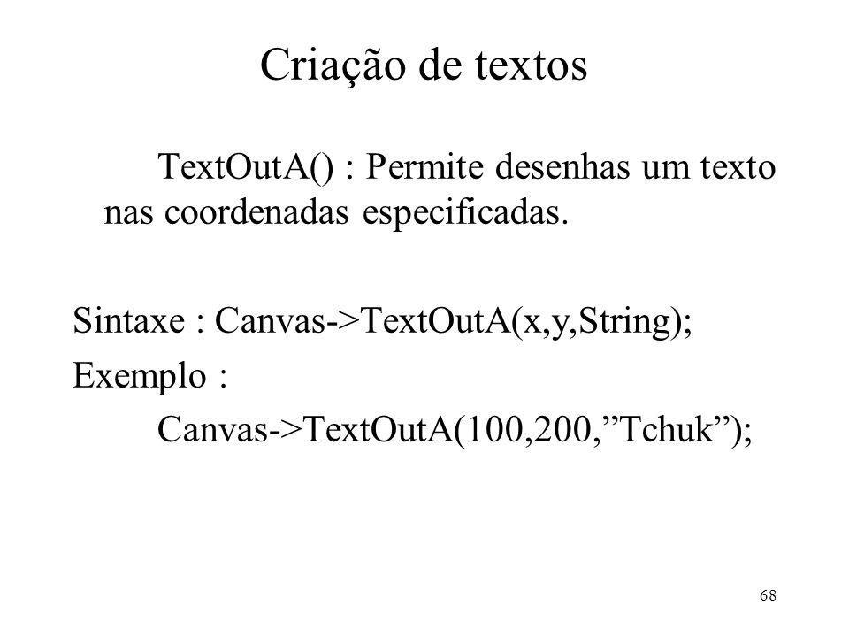Criação de textos TextOutA() : Permite desenhas um texto nas coordenadas especificadas. Sintaxe : Canvas->TextOutA(x,y,String);