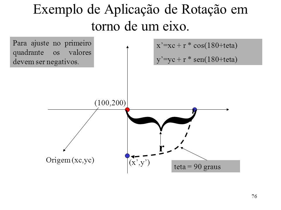 Exemplo de Aplicação de Rotação em torno de um eixo.