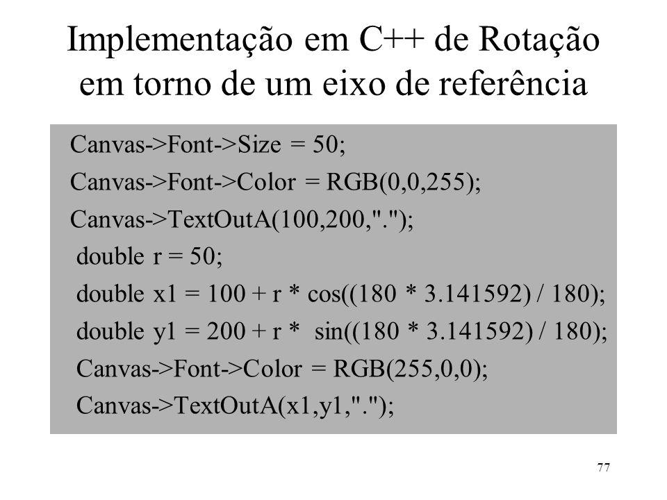 Implementação em C++ de Rotação em torno de um eixo de referência