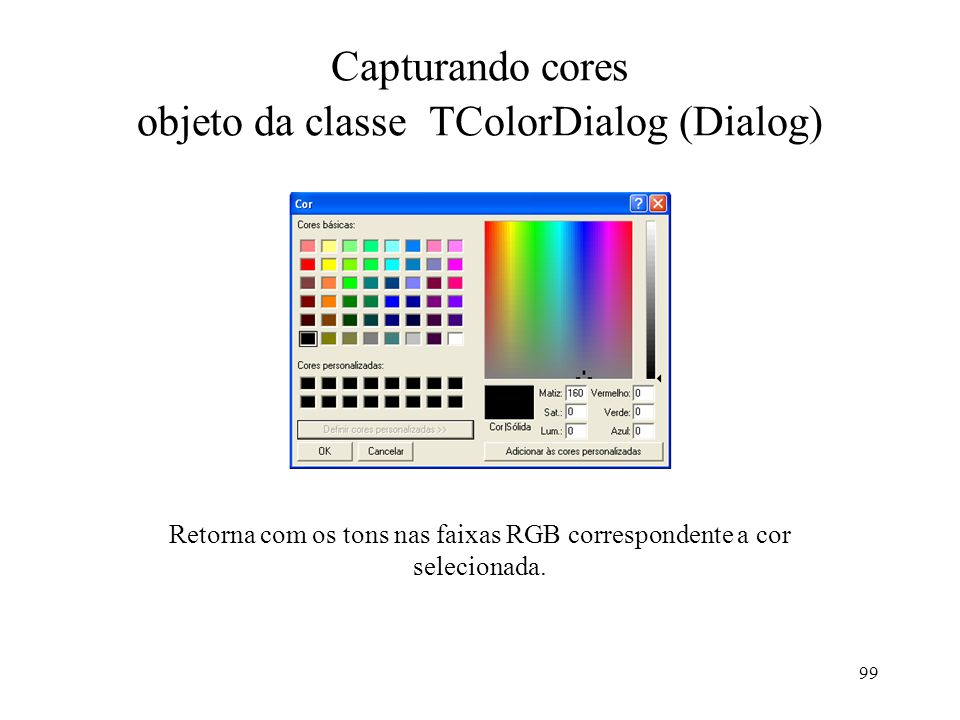 Capturando cores objeto da classe TColorDialog (Dialog)