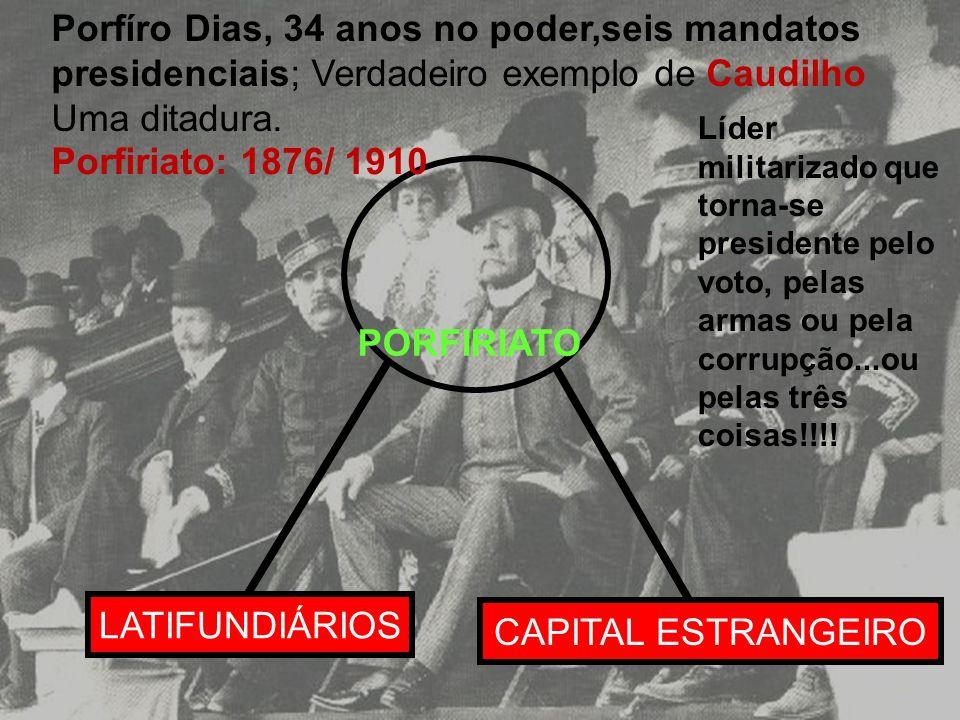 Porfíro Dias, 34 anos no poder,seis mandatos presidenciais; Verdadeiro exemplo de Caudilho