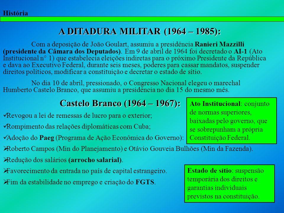 A DITADURA MILITAR (1964 – 1985):
