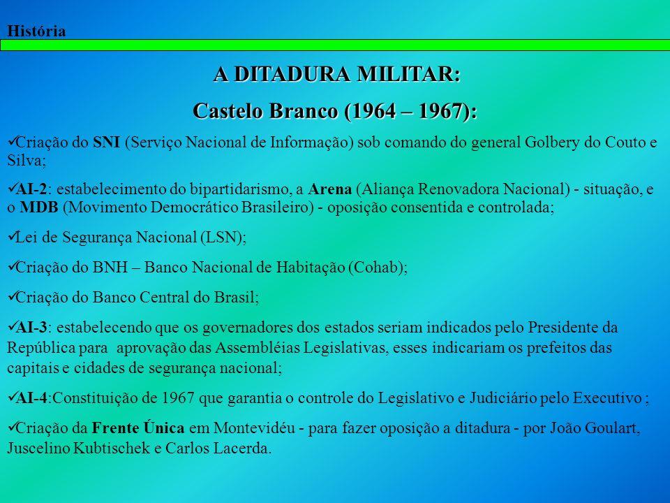 A DITADURA MILITAR: Castelo Branco (1964 – 1967):