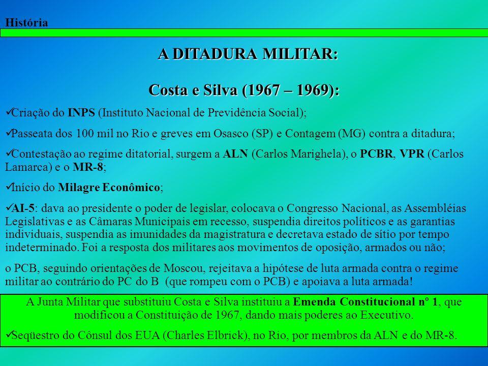 A DITADURA MILITAR: Costa e Silva (1967 – 1969):