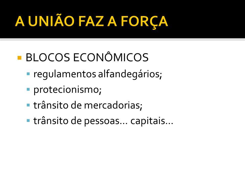 A UNIÃO FAZ A FORÇA BLOCOS ECONÔMICOS regulamentos alfandegários;
