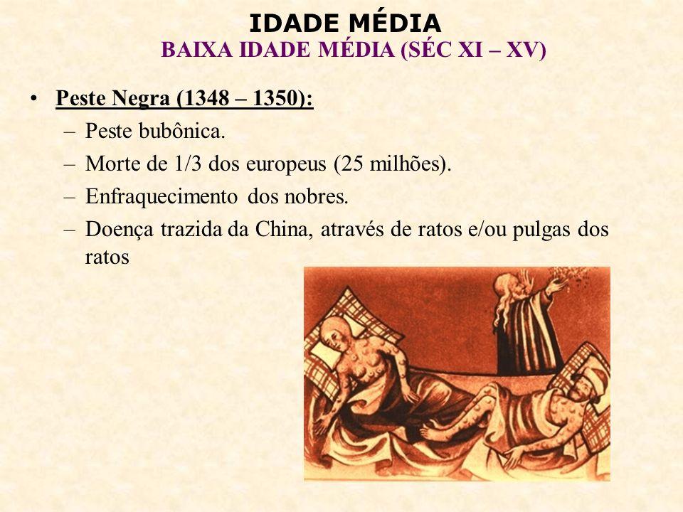 Peste Negra (1348 – 1350):Peste bubônica. Morte de 1/3 dos europeus (25 milhões). Enfraquecimento dos nobres.