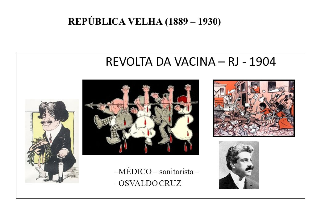 REVOLTA DA VACINA – RJ - 1904 MÉDICO – sanitarista – OSVALDO CRUZ