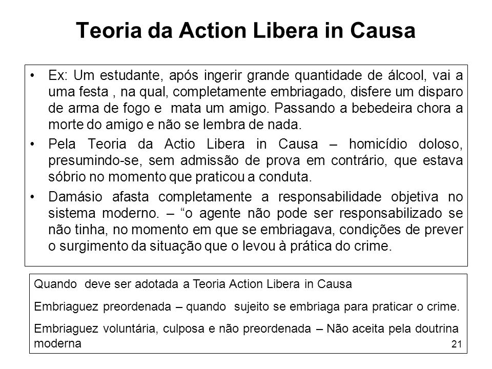 Teoria da Action Libera in Causa