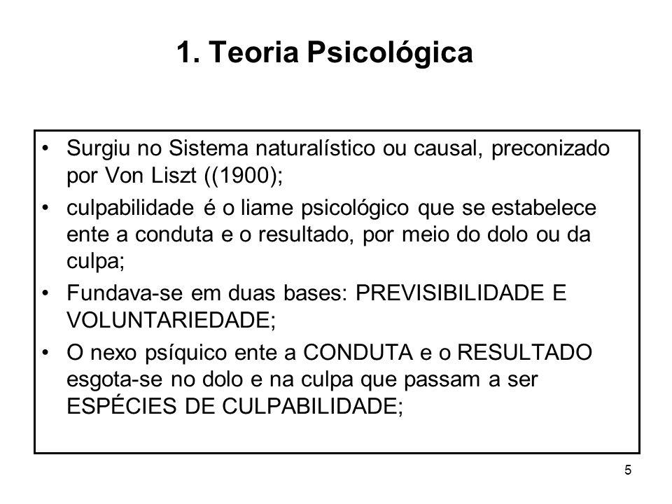 1. Teoria PsicológicaSurgiu no Sistema naturalístico ou causal, preconizado por Von Liszt ((1900);