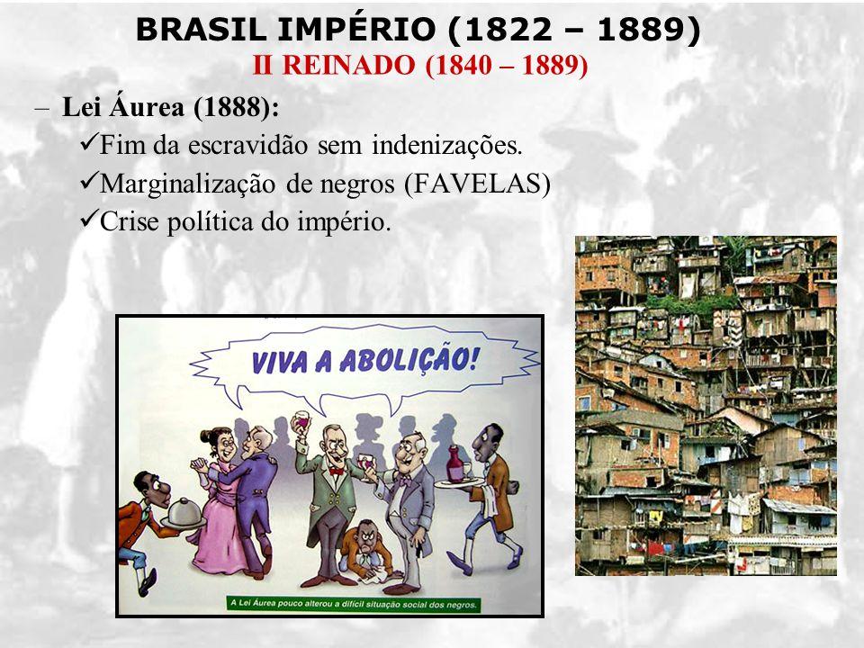 Lei Áurea (1888): Fim da escravidão sem indenizações.