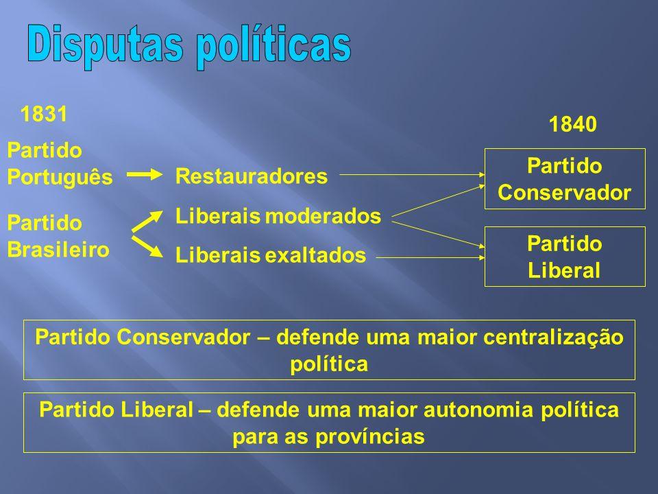 Partido Conservador – defende uma maior centralização política