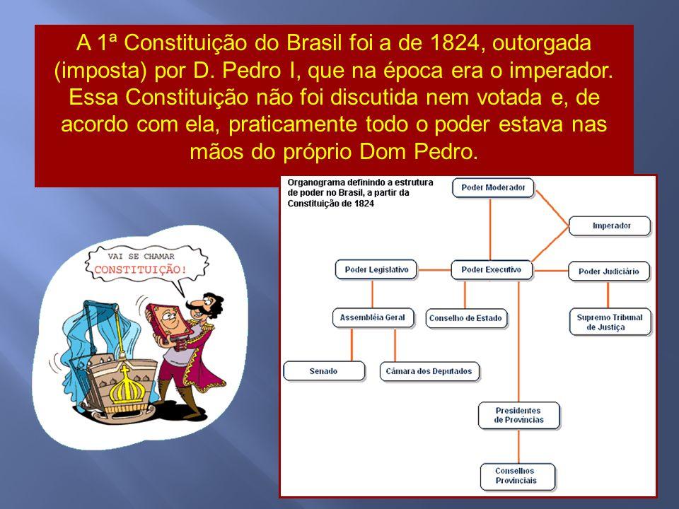 A 1ª Constituição do Brasil foi a de 1824, outorgada (imposta) por D