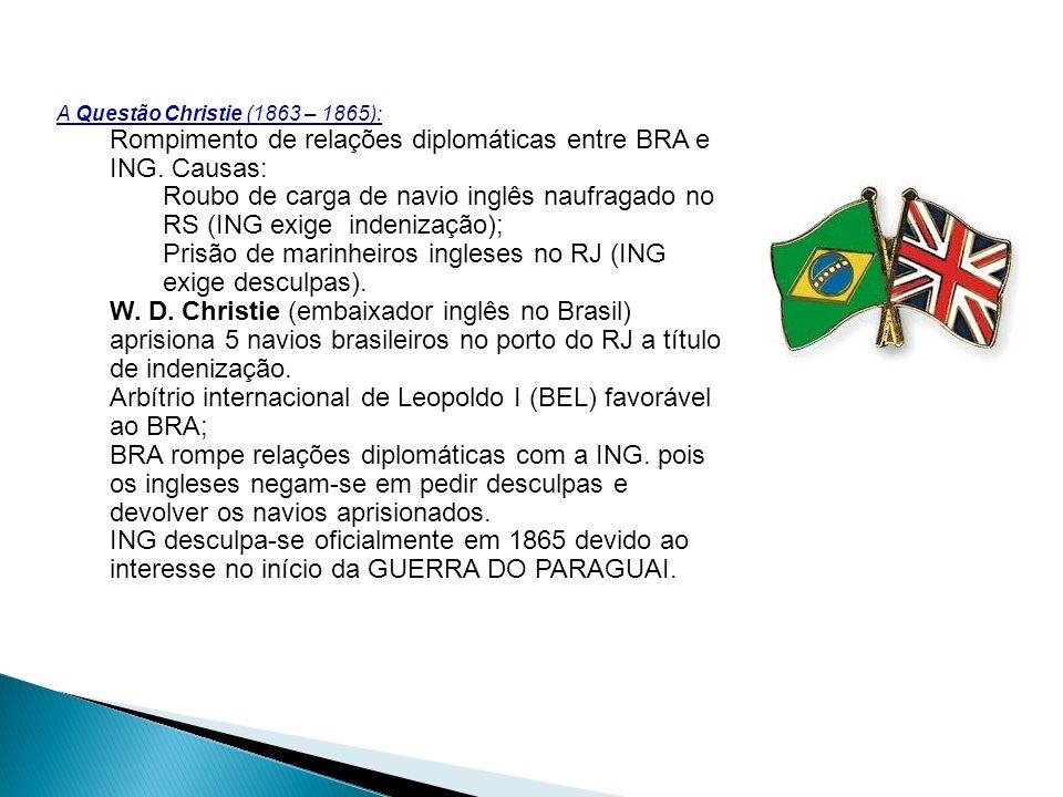 Rompimento de relações diplomáticas entre BRA e ING. Causas:
