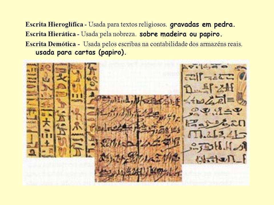 Escrita Hieroglífica - Usada para textos religiosos. gravadas em pedra