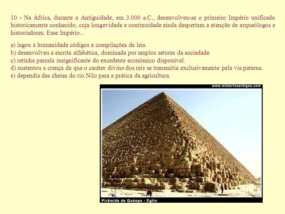 10 - Na África, durante a Antiguidade, em 3. 000 a. C