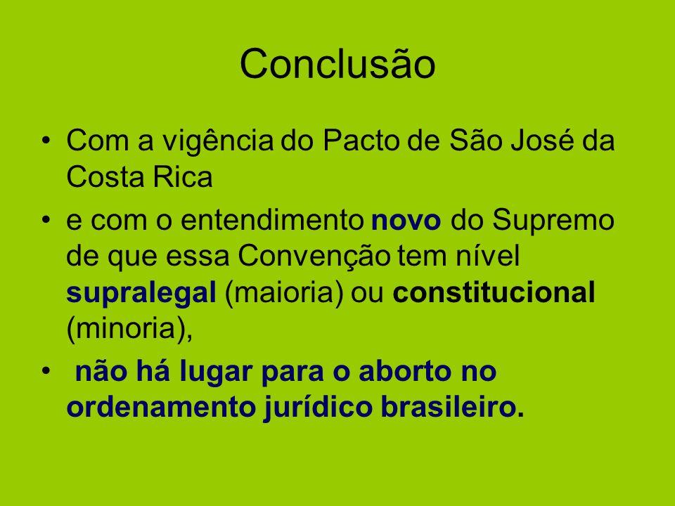 Conclusão Com a vigência do Pacto de São José da Costa Rica