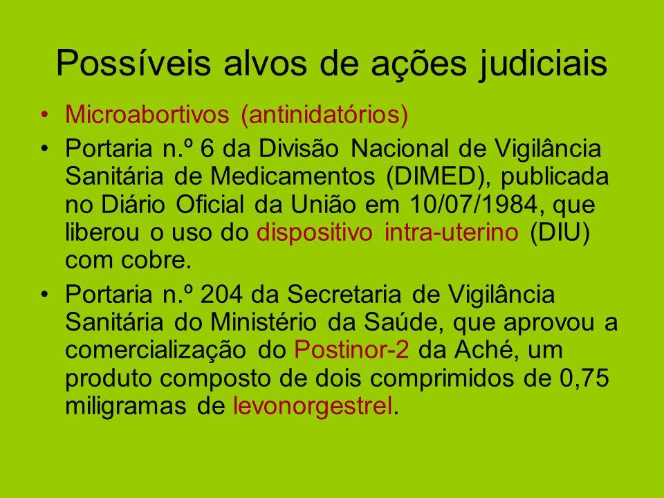 Possíveis alvos de ações judiciais