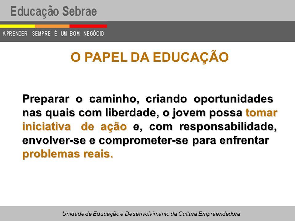 O PAPEL DA EDUCAÇÃO Preparar o caminho, criando oportunidades