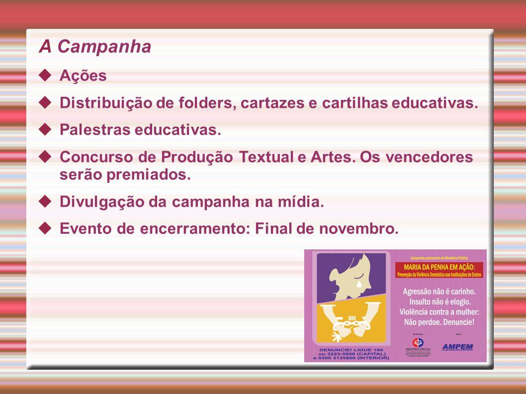 A Campanha Ações. Distribuição de folders, cartazes e cartilhas educativas. Palestras educativas.