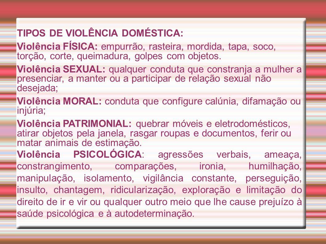 TIPOS DE VIOLÊNCIA DOMÉSTICA: