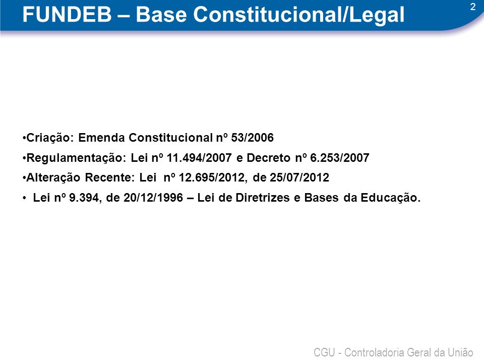 FUNDEB – Base Constitucional/Legal