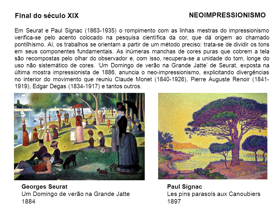 Final do século XIX NEOIMPRESSIONISMO Georges Seurat