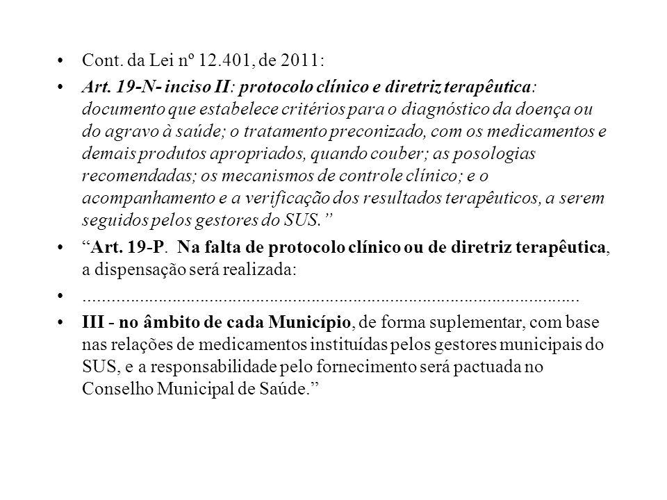 Cont. da Lei nº 12.401, de 2011: