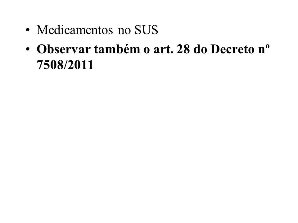 Medicamentos no SUS Observar também o art. 28 do Decreto nº 7508/2011