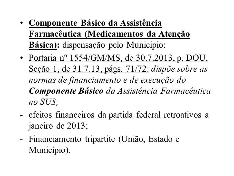 Componente Básico da Assistência Farmacêutica (Medicamentos da Atenção Básica): dispensação pelo Município: