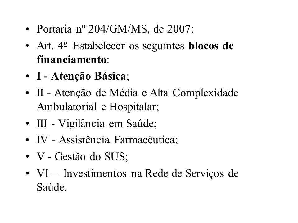 Portaria nº 204/GM/MS, de 2007: Art. 4º Estabelecer os seguintes blocos de financiamento: I - Atenção Básica;